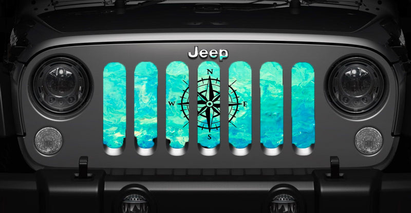 """Teal Compass"" Grille Insert by Dirty Acres"