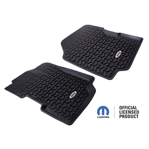 Floor Liners, Front, Black, Jeep Logo by Rugged Ridge ('76-'95 Jeep CJ7/CJ8/Wrangler YJ)