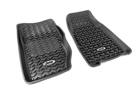 Floor Liners, Front, Black, Jeep Logo by Rugged Ridge ('84-'01 Jeep Cherokee XJ)