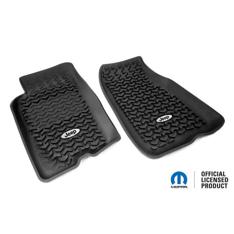 Floor Liners, Front, Black, Jeep Logo by Rugged Ridge ('93-'98 Jeep Grand Cherokee ZJ)