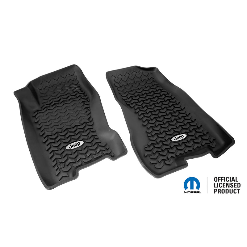 Floor Liners, Front, Black, Jeep Logo by Rugged Ridge ('99-'04 Jeep Grand Cherokee WJ)