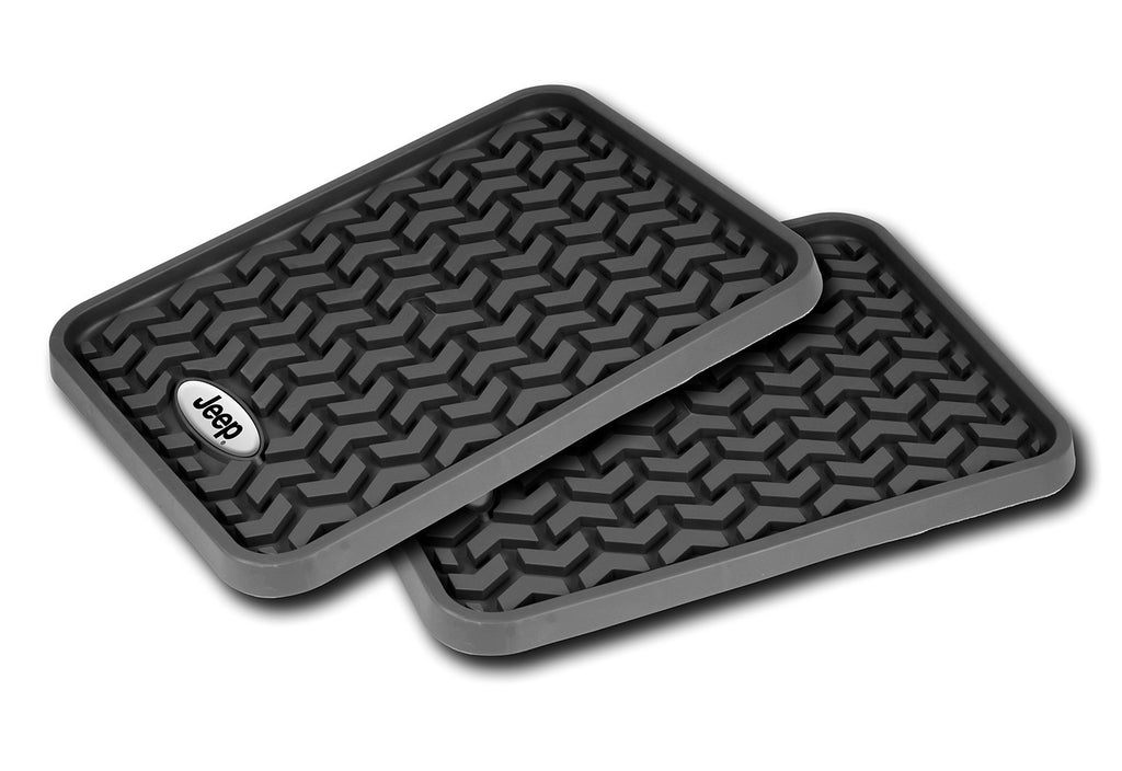 Floor Liners, Rear, Black, Jeep Logo (Universal) - Jeep World