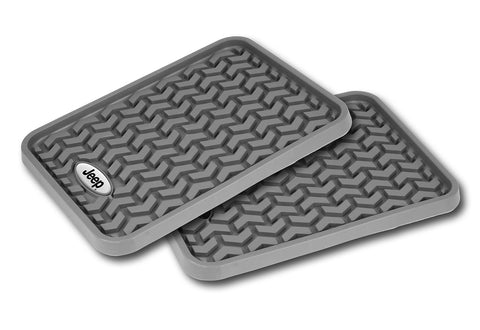Floor Liners, Rear, Gray, Jeep Logo (Universal)