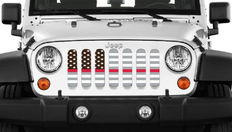 """American Ghost Tactical Red Line"" Grille Insert by Dirty Acres ('76 - '20 Wrangler CJ, YJ, TJ, JK, JL, '20 Gladiator JT)"