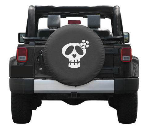 Colortek Girly Skull White or Pink Soft Tire Cover (Liberty KJ, Wrangler CJ, YJ, TJ, & JK)