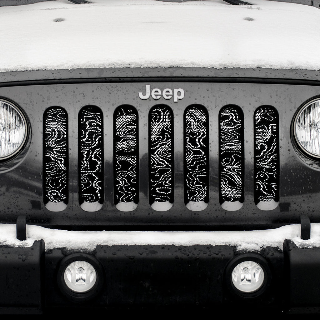 """High Peaks"" JeepWorld.com Exclusive Grille Insert by Dirty Acres ('76 - '18 Wrangler CJ, YJ, TJ, JK, JKU) - Jeep World"