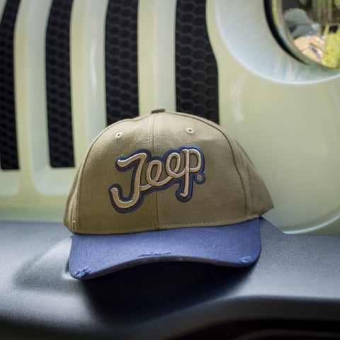 Olive & Navy Script Cap by Jeep