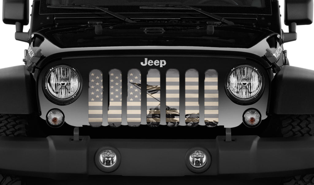 """Iwo Jima"" Grille Insert by Dirty Acres ('76 - '18 Wrangler CJ, YJ, TJ, JK & JKU) - Jeep World"