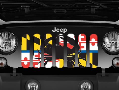 """Maryland Flag Back The Blue"" Jeep Grille Insert By Dirty Acres ('76-'20 Wrangler CJ, YJ, TJ, JK, JL and '20 Gladiator JT)"