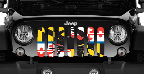 """Maryland Crab Flag Back The Blue"" Jeep Grille Insert By Dirty Acres ('76-'19 Wrangler CJ, YJ, TJ, JK, JL)"