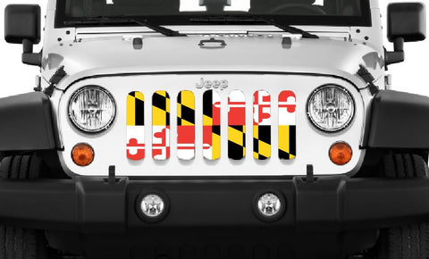 """Maryland Flag"" Jeep Grille Insert By Dirty Acres ('76-'20 Wrangler CJ, YJ, TJ, JK, JL and '20 Gladiator JT)"