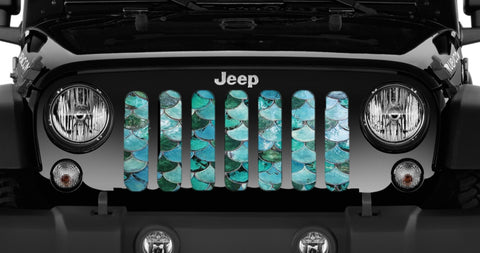"""Sea Foam Mermaid Scales"" Grille Insert by Dirty Acres ('76 - '19 Wrangler CJ, YJ, TJ, LJ, JK, JL)"