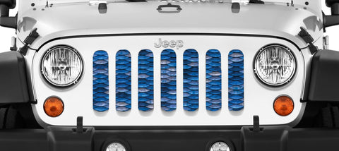 """Blue Mermaid Scales"" Grille Insert by Dirty Acres ('76 - '19 Wrangler CJ, YJ, TJ, LJ, JK, JL)"