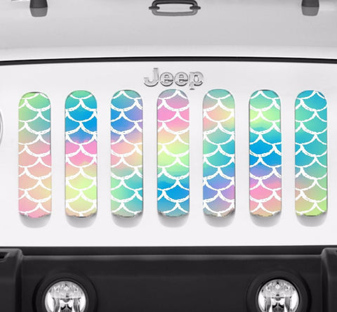 """Pastel Mermaid Scales"" Grille Insert by Dirty Acres ('76 - '19 Wrangler CJ, YJ, TJ, JK, JL, '20 Gladiator JT)"