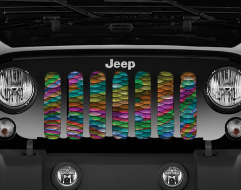 """Rainbow Mermaid Scales"" Grille Insert by Dirty Acres ('76 - '19 Wrangler CJ, YJ, TJ, JK, JL, '20 Gladiator JT)"