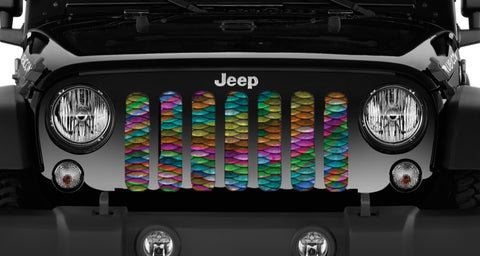 """Rainbow Mermaid Scales"" Grille Insert by Dirty Acres ('76 - '19 Wrangler CJ, YJ, TJ, LJ, JK, JL)"