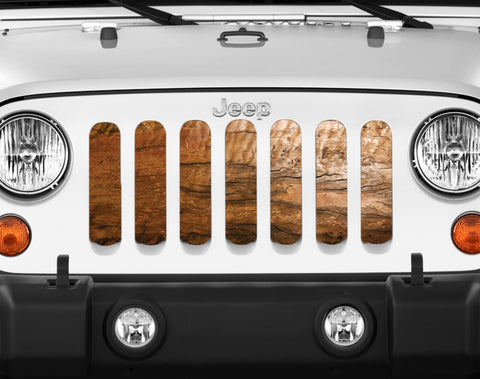 """Nature's Beauty Cracked Wood"" Grille Insert by Dirty Acres (Wrangler, Gladiator, Renegade, G.Cherokee)"