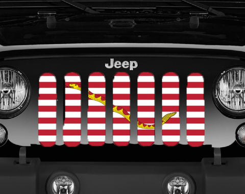 """Navy Jack"" Grille Insert by Dirty Acres ('76 - '19 Wrangler CJ, YJ, TJ, LJ, JK, JL)"
