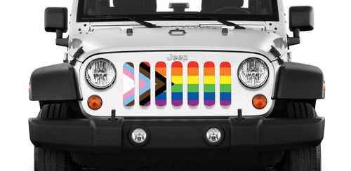 """Progress Pride Flag"" Grille Insert by Dirty Acres"