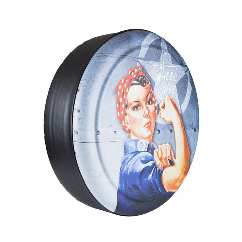 "Colortek Rigid™ Rosie The Wheeler ""4-Wheel Drive"" Tire Cover (Liberty KJ, Wrangler CJ, YJ, TJ, & JK)"
