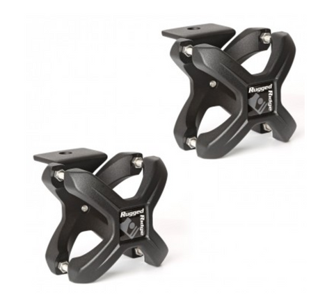 X-Clamp, Textured Black, Pair, 2.25-3 Inches by Rugged Ridge (Wrangler CJ, YJ, TJ, JK)
