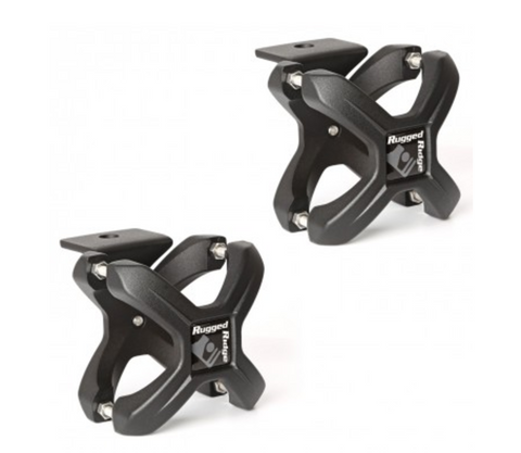 X-Clamp, Textured Black, Pair, 1.25-2 Inches by Rugged Ridge (Wrangler CJ, YJ, TJ, JK)