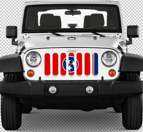 """Tennessee State Flag"" Grille Insert by Dirty Acres ('76 - '19 Wrangler CJ, YJ, TJ, JK, JL)"