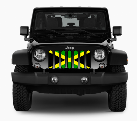 """Jamaican Flag"" Grille Insert by Dirty Acres (Wrangler, Gladiator, Renegade, G.Cherokee)"
