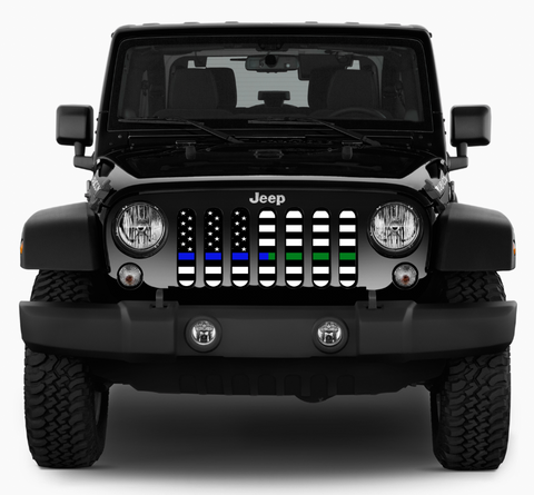 """American Black and White BTBlue/Green"" Grille Insert by Dirty Acres ('76 - '19 Wrangler CJ, YJ, TJ, JK, JL, '20 Gladiator JT)"