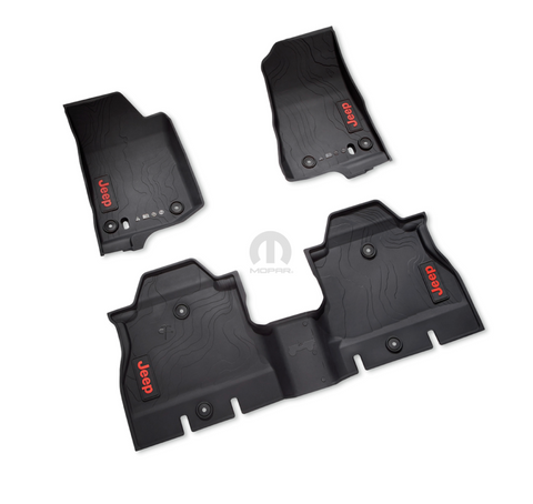 All-Weather Slush Mat Set, Black by Mopar ('19 Wrangler JLU 4-Door)