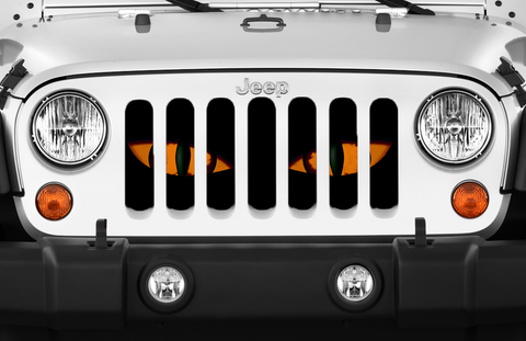 """Orange Chaos Eyes"" Grille Insert From Dirty Acres ('76 - '19 Wrangler CJ, YJ, TJ, JK, JL, '20 Gladiator JT)"