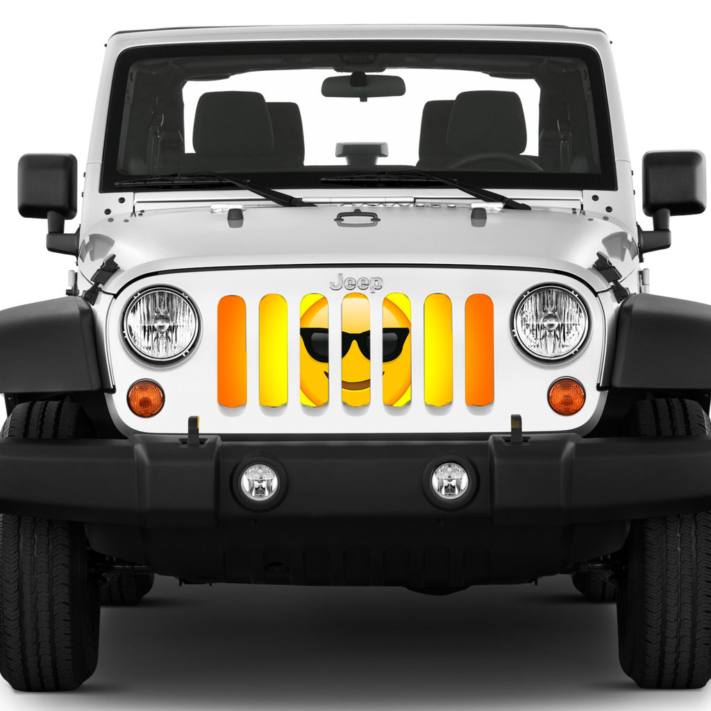 """Sunglasses Emoji"" Grille Insert by Dirty Acres ('76 - '18 Wrangler CJ, YJ, TJ, LJ, JK, JKU) - Jeep World"