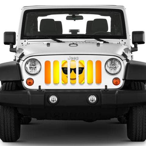 """Sunglasses Emoji"" Grille Insert by Dirty Acres (Wrangler, Gladiator, Renegade, G.Cherokee)"