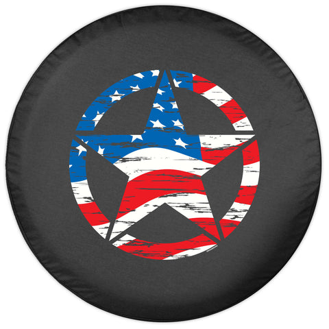 Colortek Distressed American Flag Star Soft Tire Cover (Liberty KJ, Wrangler CJ, YJ, TJ, & JK)