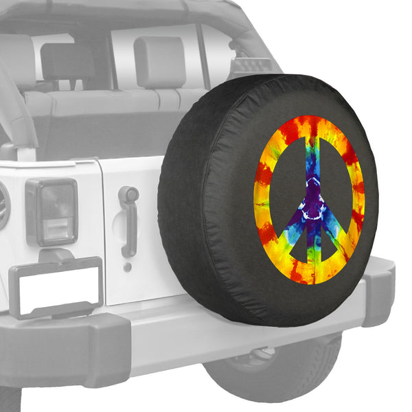 Tie Dye Peace Sign Soft Tire Cover For Jeep Jeep World
