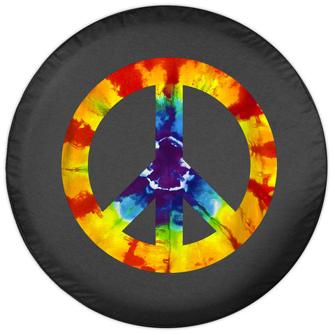 Colortek Tie Dye Peace Sign Soft Tire Cover (Liberty KJ, Wrangler CJ, YJ, TJ, & JK)