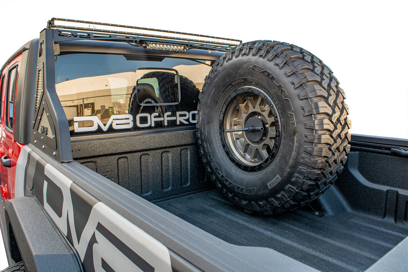 Universal Stand Up In-Bed Tire Carrier by DV8 Offroad (20+ Gladiator JT)