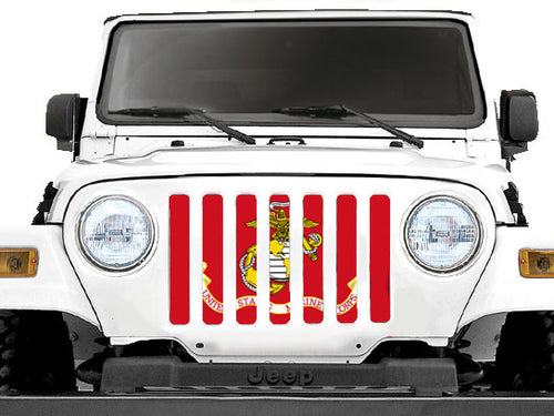 """USMC"" Grille Insert by Dirty Acres ('76 - '18 Wrangler CJ, YJ, TJ, LJ, JK & JKU) - Jeep World"