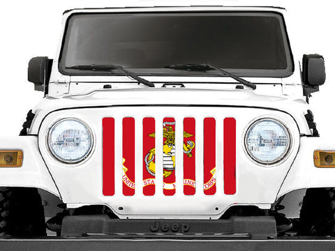 """USMC"" Grille Insert by Dirty Acres ('76 - '19 Wrangler CJ, YJ, TJ, LJ, JL & JLU)"