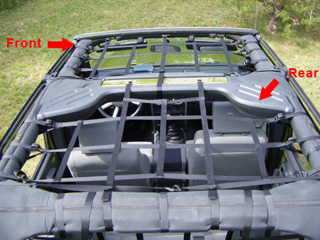 Front Overhead Cargo Net for 4-Door Wrangler by Aspen Manufacturing ('07 - '18 Wrangler JK) - Jeep World