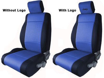 CoverKing Seat Cover, Front Seat Covers, Black and Blue with Black Jeep logo, 2 Door ('03-'06 Wrangler TJ)