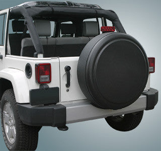 Boomerang Plain Black Rigid Jeep Tire Covers (Liberty KJ, Wrangler CJ, YJ, TJ, & JK)