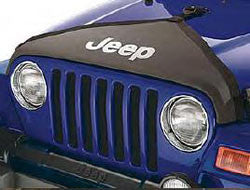 Front End Cover, V-Style Hood Cover, Black, with light silver Jeep Logo for 1997-2006 Unlimited, Rubicon, Sahara, SE, Sport Wrangler- - Jeep World
