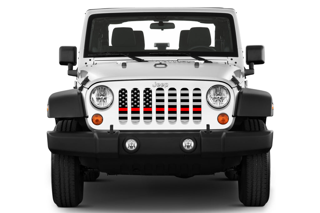 """American Tactical Back The Red"" Grille Insert by Dirty Acres ('76 - '18 Wrangler CJ, YJ, TJ, LJ, JK & JKU) - Jeep World"