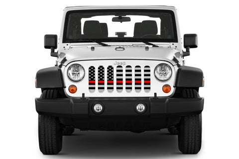 """American Tactical Back The Red"" Grille Insert by Dirty Acres ('76 - '19 Wrangler CJ, YJ, TJ, JK, JL, '20 Gladiator JT)"