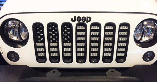 Best All Weather Floor Mats >> Black & White USA Flag Grille Insert For Wranglers– Jeep World