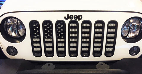 """Black & White American Flag"" Grille Insert by Dirty Acres ('76-'20 Wrangler CJ, YJ, TJ, JK, JL and '20 Gladiator JT)"