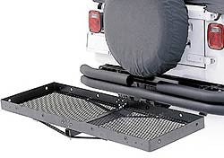 "Rugged Ridge Hitch Mount Cargo Rack for 2"" Hitch Openings, Black, 20"" x 60"" (Universal) - Jeep World"
