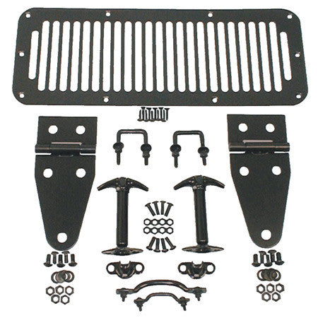 Rugged Ridge Hood Set, Black Powder Coated ('76-95 Wrangler CJ, YJ)