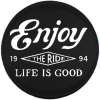 Life is Good Tire Cover - Enjoy The Ride Black & White